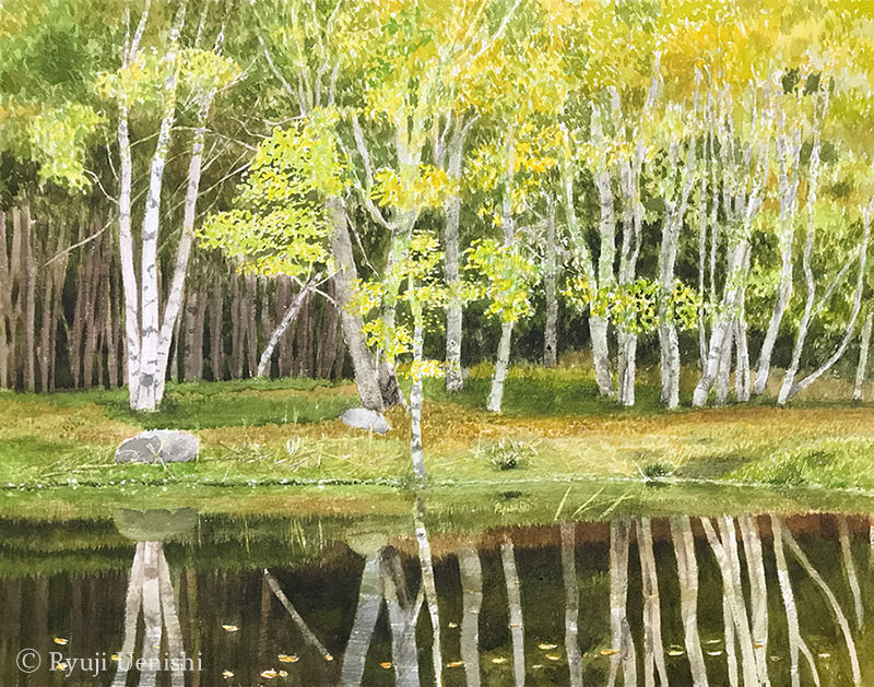 上西竜二作品「水面に映る林」